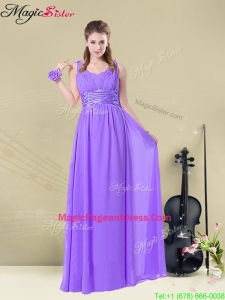 Classical Empire Straps Pageant Dresses with Ruching and Belt