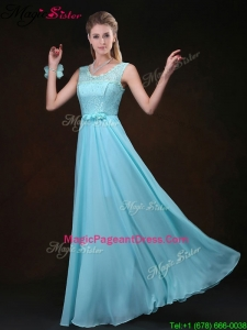 Classical Scoop Lace Pageant Dresses with Lace