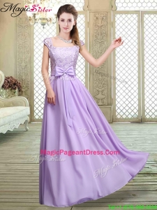 Classical Square Cap Sleeves Lavender Bridesmaid Dresses with Belt