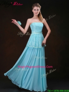 Classical Strapless Floor Length Pageant Dresses in Aqua Blue