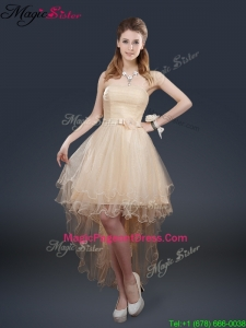 Exquisite 2016 High Low Pageant Dresses with Belt for Fall