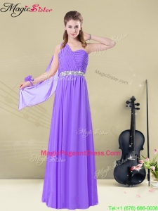 Exquisite One Shoulder Floor Length Pageant Dresses with Belt