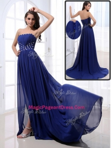 2016 Elegant Brush Train Strapless Beading Pageant Dresses in Royal Blue