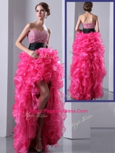 2016 Exquisite High Low Hot Pink Pageant Dresses with Ruffles