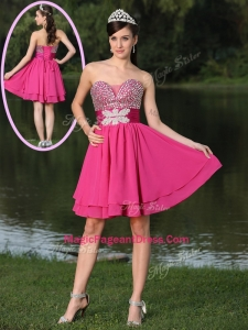 2016 Inexpensive Short Sweetheart Beading Pageant Dresses in Hot Pink