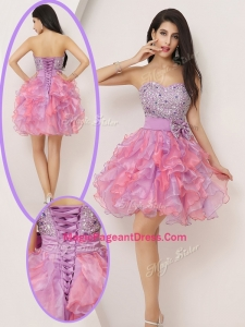2016 Lovely Short Sweetheart Beading and Bowknot Pageant Gowns