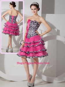 2016 New Style Sweetheart Leopard and Ruffled Layers Prom Dresses