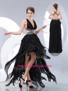 2016 New Style V Neck High Low Pageant Dresses in Black
