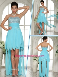 2016 Wonderful Sweetheart High Low Beading and Paillette Pageant Dresses in Aqua Blue