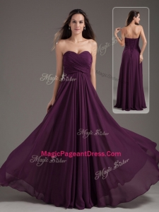 2016 Cheap Empire Sweetheart Ruching Pageant Dresses in Purple
