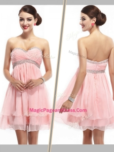 2016 Lovely Sweetheart Short Pageant Dress with Beading and Ruching