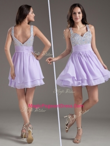 2016 Simple Straps Mini Length Lavender Pageant Dress with Beading