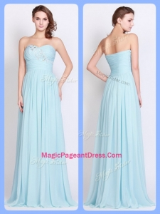 New Style Brush Train Light Blue Amazing Pageant Dresses with Beading and Ruching