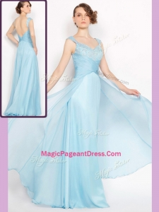 New Style Empire Brush Train Light Blue Amazing Pageant Dresses with Beading
