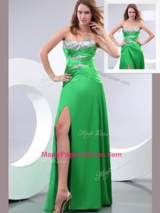 2016 Amazing Sweetheart Paillette and High Slit Green Pageant Dress