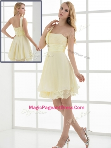 Pretty Short One Shoulder Beading and Belt Amazing Pageant Dresses for Summer