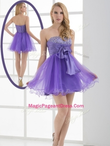 Beautiful Sweetheart Eggplant Purple Short Classical Pageant Dresses with Beading
