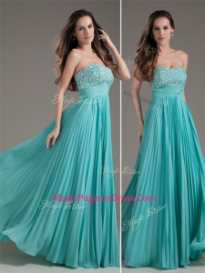 Classical Empire Strapless Turquoise Long Amazing Pageant Dresses