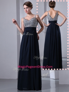 Classical Empire Straps Side Zipper Beading Pageant Dresses in Black