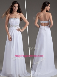 Discount Empire Strapless Brush Train White Classical Pageant Dresses