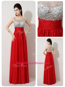 Fashionable Scoop Empire Beading Red Exquisite Pageant Dresses