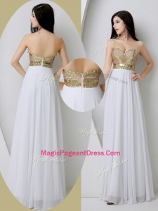 Fashionable Sweetheart White Classical Pageant Dresses with Beading and Sequins