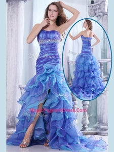 Hot Sale Column Sweetheart High Low Beading and Ruffled Layers Formal Pageant Dresses
