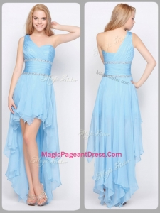 Inexpensive One Shoulder High Low Formal Pageant Dresses with Beading
