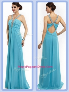 Latest Empire Brush Train Beaded Classical Pageant Dresses