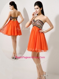 Low Price Short Orange Red Formal Pageant Dresses with Beading and Sequins