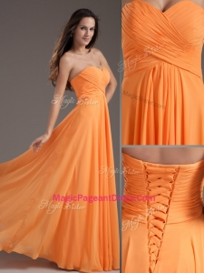 Low Price Sweetheart Floor Length Ruching Exquisite Pageant Dresses in Orange