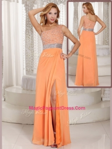 Luxurious One Shoulder Beading Formal Pageant Dresses with Side Zipper