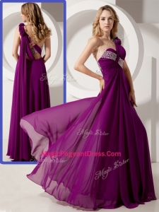 Luxurious One Shoulder Hand Made Flowers Amazing Pageant Dresses with Beading