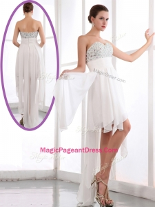 Most Popular Sweetheart High Low Beading Exquisite Pageant Dresses in White