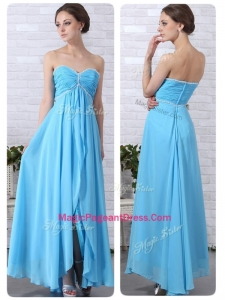 Pretty Empire Sweetheart Slit Amazing Pageant Dresses in Aqua Blue