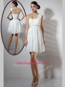 Simple Empire One Shoulder Short Classical Pageant Dresses in White