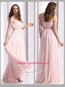 Simple Strapless Beading Long Classical Pageant Dresses in Baby Pink