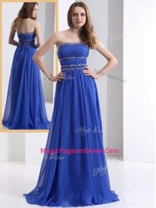 Simple Strapless Empire Blue Exquisite Pageant Dresses with Ruching and Beading