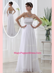 Affordable Strapless Brush Train Beading Natural Pageant Dresses in White