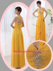 Beautiful Empire One Shoulder Beading Orange Modern Pageant Dresses for Holiday