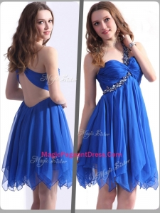 Best One Shoulder Blue Short Formal Pageant Dresses with Beading