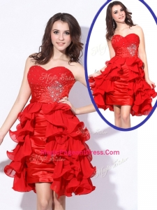 Best Sweetheart Red Short Formal Pageant Dresses with Beading and Ruffles