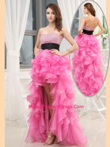 Cheap Sweetheart High-low Pink Natural Pageant Dresses with Beading and Belt