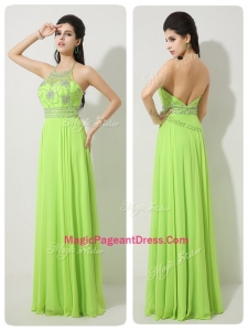 Classical Halter Top Beading Natural Pageant Dresses for 2016