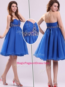 Classical Short Sweetheart Beading Natural Pageant Dresses in Blue