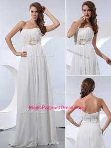 Discount Empire Strapless Beading Formal Pageant Dresses in White