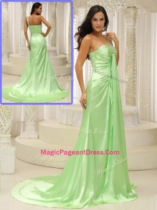 Elegant Column One Shoulder Beading Modern Pageant Dresses with Brush Train
