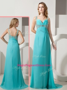 Elegant Empire Straps Beading Turquoise Natural Pageant Dresses with Brush Train