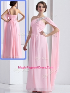 Elegant One Shoulder Baby Pink Formal Pageant Dresses with Ruching and Beading