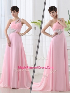Fashionable One Shoulder Brush Train Beading Baby Pink Natural Pageant Dresses